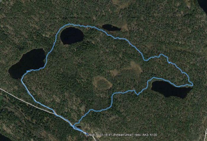 Reitti GE-kartalla - 3,7 km ja 3 t 24 min